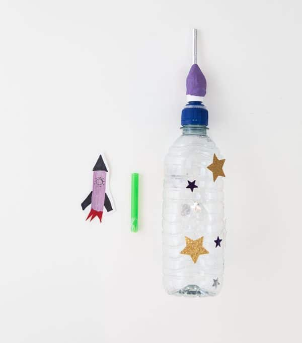 Making a Squeezy bottle rocket simple STEAM activity for Kids
