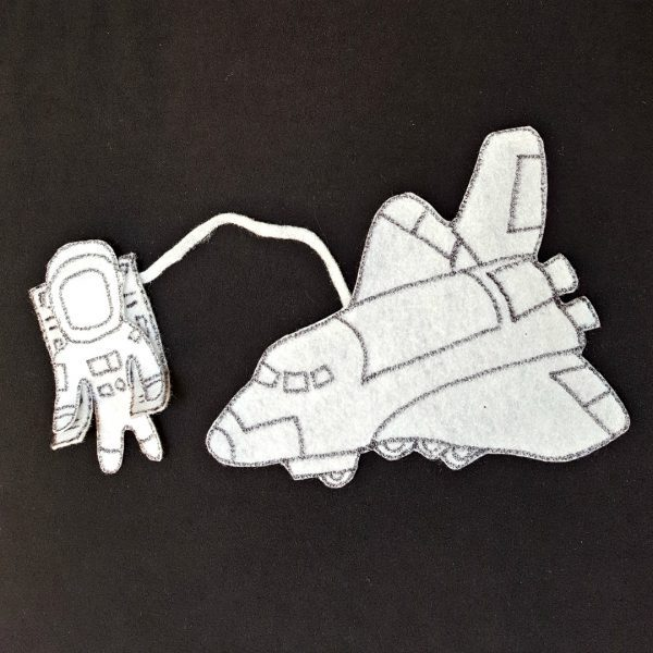 astronaut and shuttle on the felt board