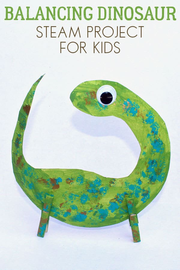 paper plate dinosaur STEM activity for kids