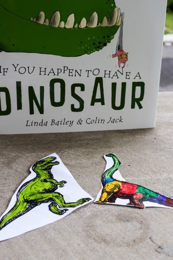 dinosaur colouring pages with toddler and preschool book recommendation