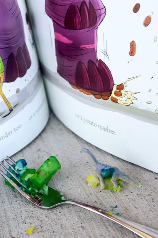 make taste safe dinosaur sensory tub based on the book If you happen to have a dinosaur