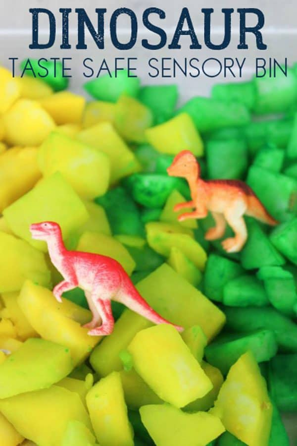 Taste Safe Dinosaur Themed Sensory Bin for Toddlers and Early Preschoolers