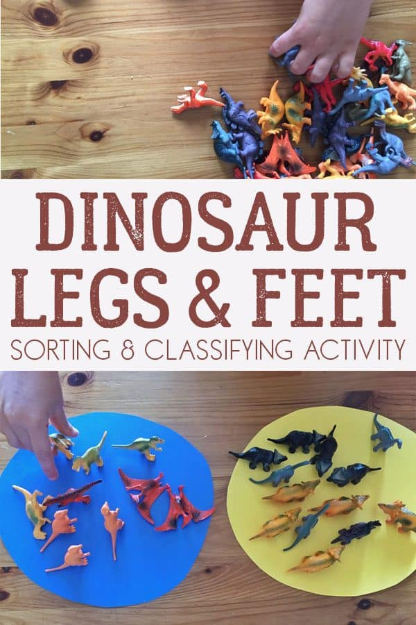Simple to set up sorting activity for toddlers and preschoolers with toy dinosaurs that focuses on how they stand and walk.