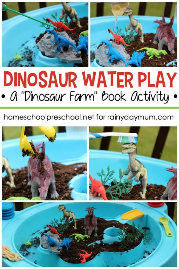 Simple to set up pretend play with dinosaurs inspired by the book dinosaur farm for toddlers and preschoolers