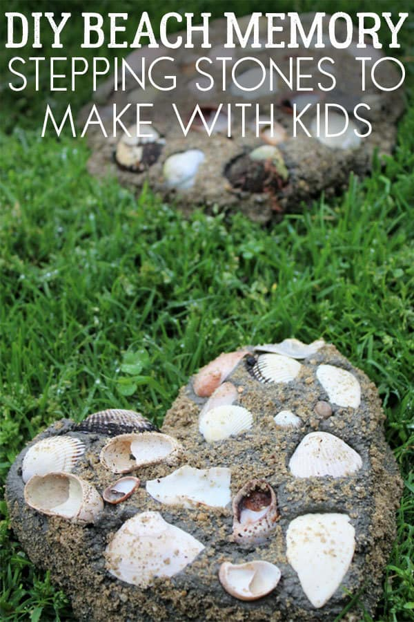 DIY summer craft for you and your kids to make to remember your beach trip. Use your shell collections to make beautiful sand moulded stepping stones.
