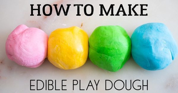 balls of bright coloured edible playdough on a white granite surface with text reading How to Make Edible Play Dough