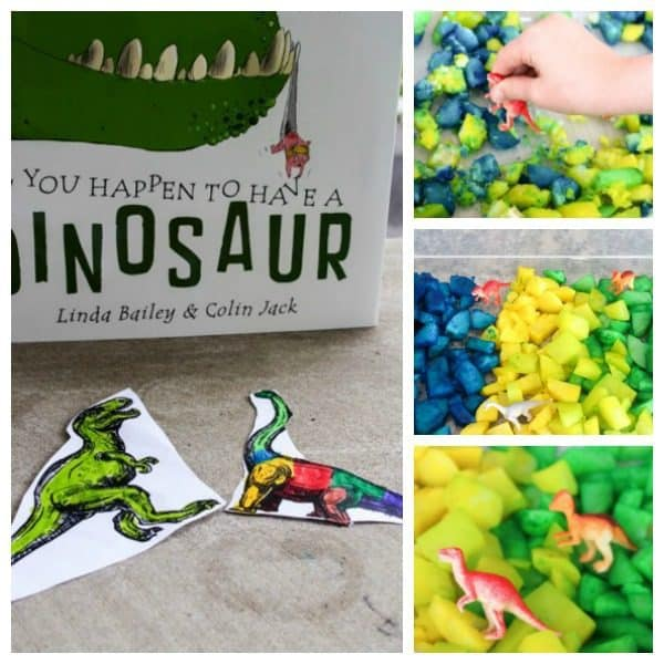 Dinosaur Themed Sensory Bin for Taste Safe Play with Toddlers