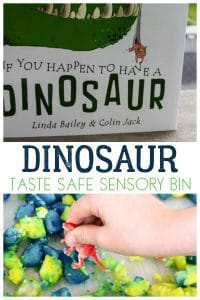 Create a taste safe sensory bin ideal for using with toddlers and preschoolers to let them stomp, roar and play with the dinosaurs.