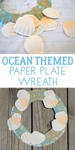 Quick and Easy Summer Craft for kids to create a paper plate ocean themed wreath.