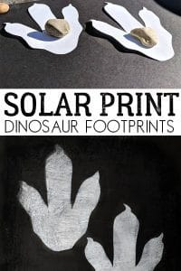 Create solar print dinosaur footprints