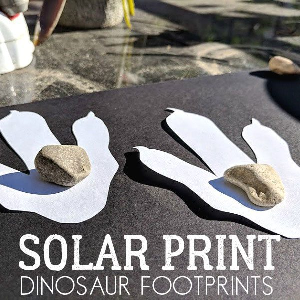 low cost dinosaur solar print footprints for kids to make