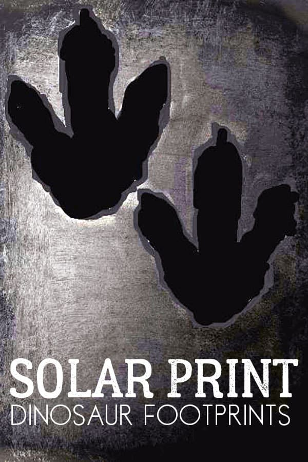 Solar Printing dinosaur footprints for kids to make