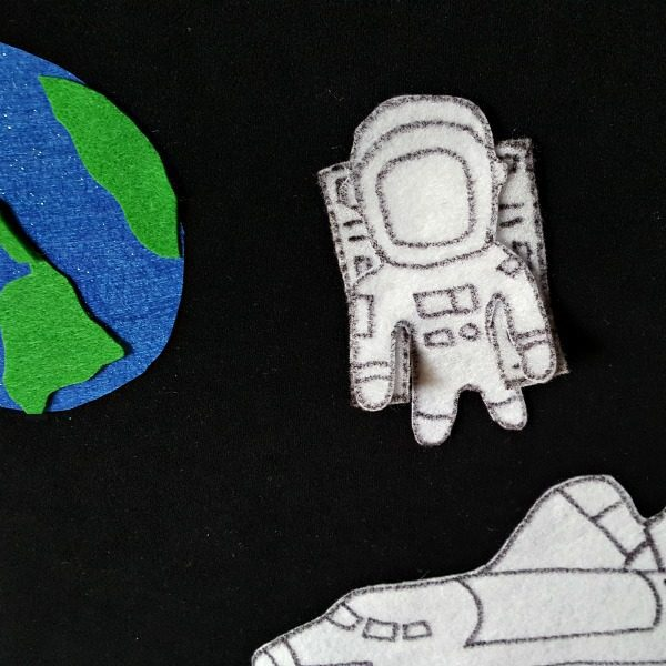 DIY Space Felt Board instructions and featured book