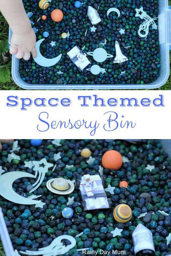 Easy to set up and reuse space-themed sensory bin with coloured dried chickpeas ideal for using with older toddlers and preschoolers.