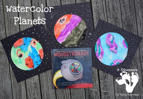 Get creative with this space-themed art project for kids inspired by literature to create an imaginative set of watercolour planets.