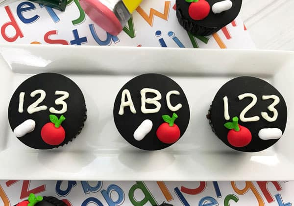 simply decorated back to school cupcakes