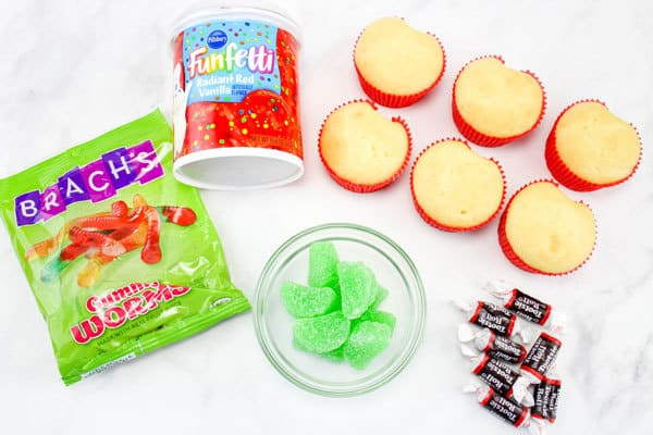 ingredients for making these simply decorated cupcakes for kids
