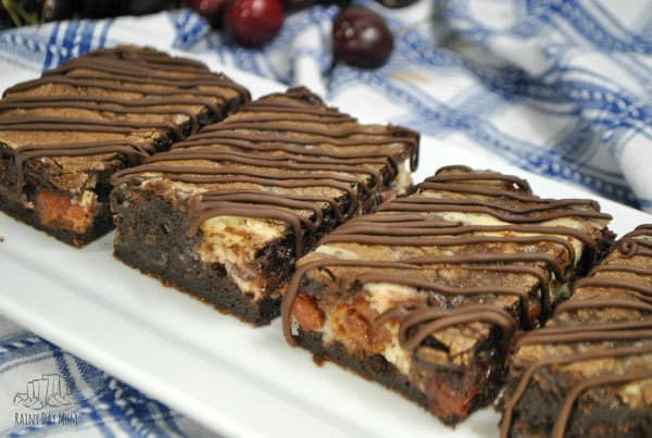 Brownie Cheesecake Bars Recipe with Cherry Pie Filling