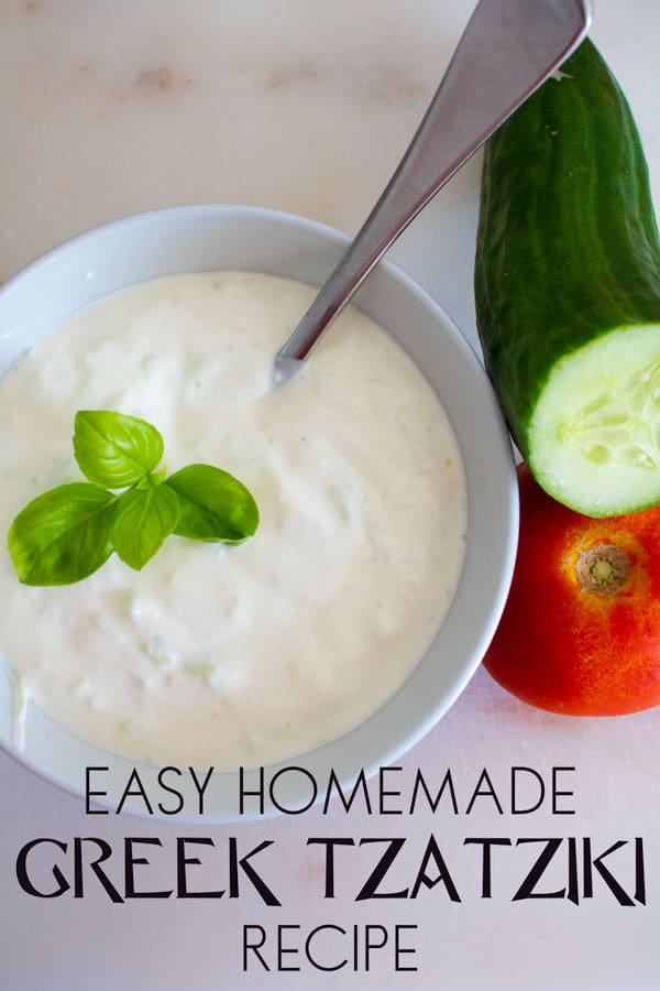 Easy homemade Greek Tzatziki dip recipe to make. Perfect for summer salads and in pita bread.
