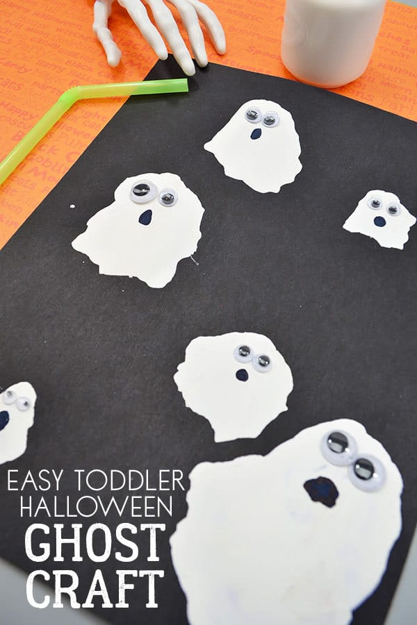 Easy Toddler Halloween Craft to make Straw Blown Ghosts