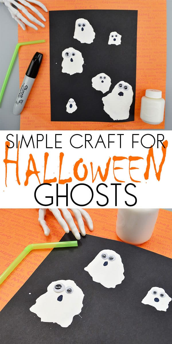 Easy to make straw blown ghost craft ideal for toddlers and preschoolers to make this Halloween for fun or to cut out and use as decorations.