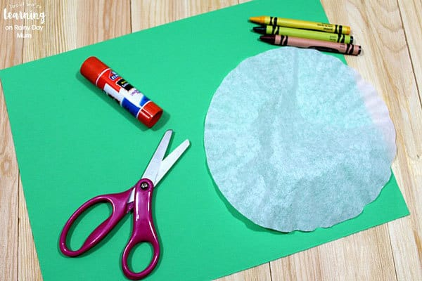 materials needed for making coffee filter crafts with kids