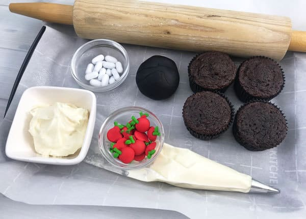 Materials needed for creating these simple back to school cupcakes