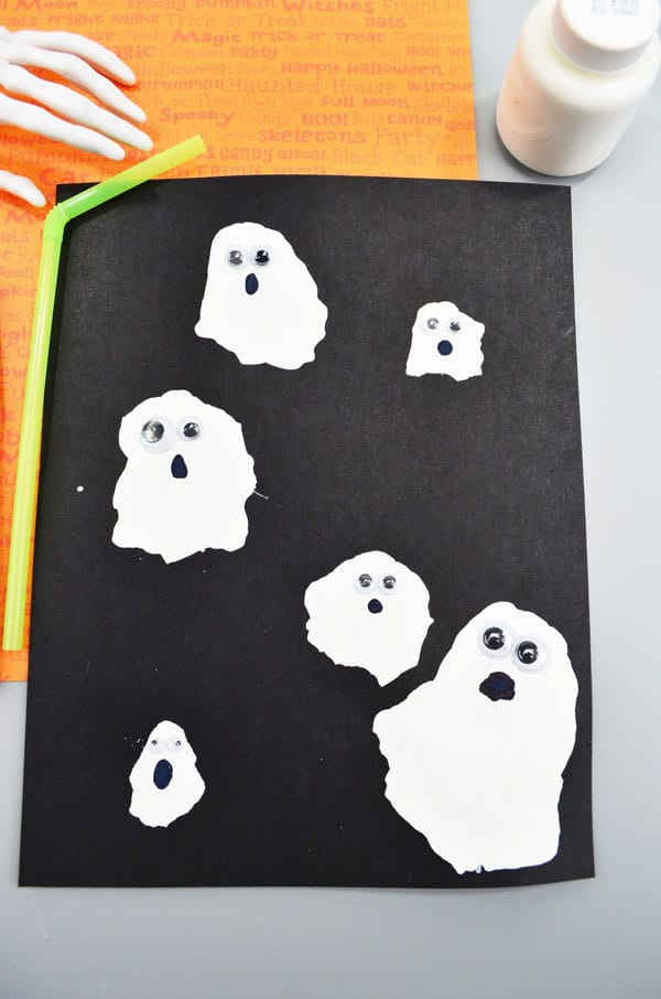 Simple Halloween ghosts a craft to go with the fun counting picture book Ten Timid Ghosts