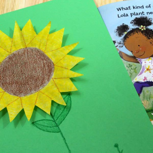 Simple sunflower coffee filter craft for toddlers and preschoolers
