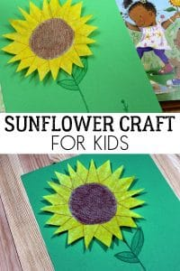Simple Coffee Filter Sunflower Craft for Kids inspired by the book Lola Plants a Garden. Ideal for Summer Crafting