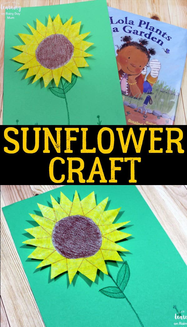 Simple Coffee Filter Sunflower Craft for toddlers and preschoolers inspired by the book Lola Plants a Garden. Ideal for Summer Crafting.