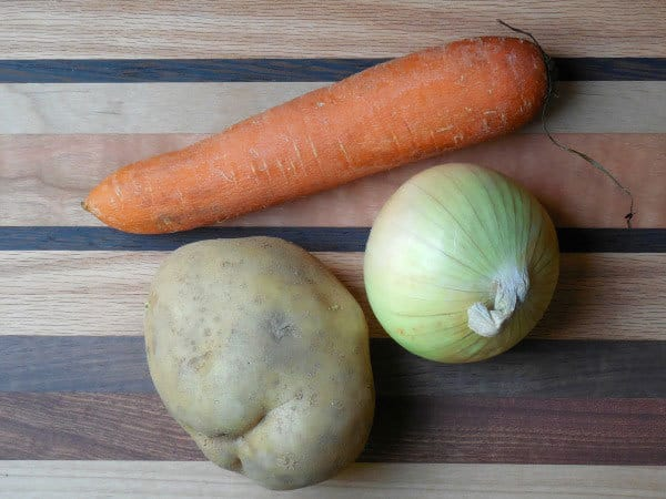 selection of vegetables cleaned from the garden to test if they contain starch or not