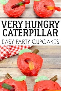 If you are throwing a Very Hungry Caterpillar Party then these easy to make cupcakes are a perfect treat for your guests. Simple, no cake decorating experience needed perfect for kids to enjoy.