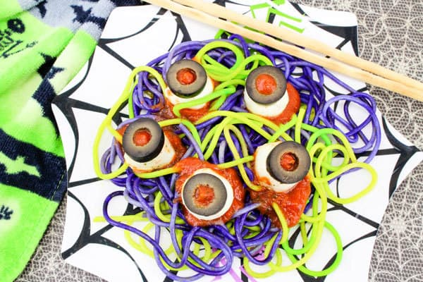 Fun Halloween Meal idea for Kids - spaghetti and eyeballs