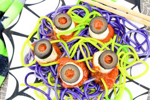 Spooky pasta and eyeballs an easy Halloween meal idea that will wow the kids