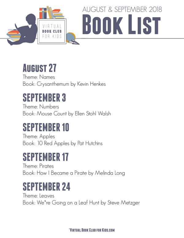 Virtual Book Club for Kids Themes and Featured books for August and September 2018