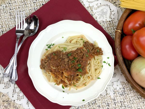 Simple family meal of Pasta and a Tomato Rich Meat Sauce - make ahead and freeze