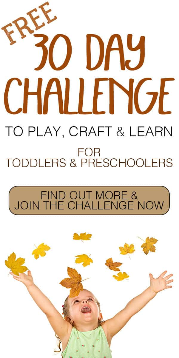 30 Day Challenge to Play, Create and Learn for you and your Toddlers and Preschoolers