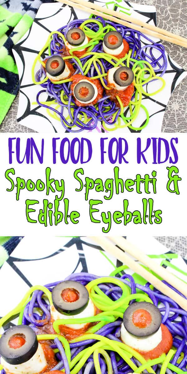 Make this easy spooky Halloween meal for your kids, with spaghetti and meat sauce plus edible eyeballs the kids will love tucking in to it.