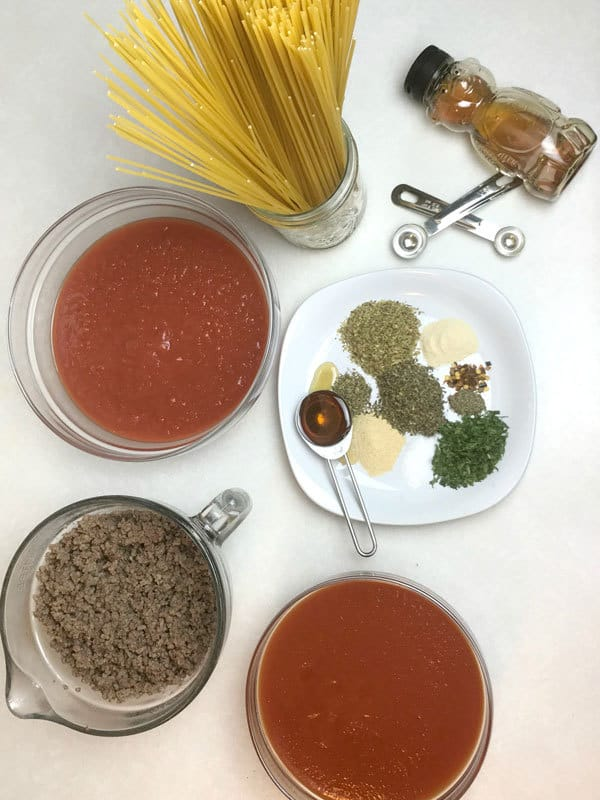 Store cupboard ingredients for making a delicious Spaghetti Bolognese - quick and easy ready in just 30 minutes