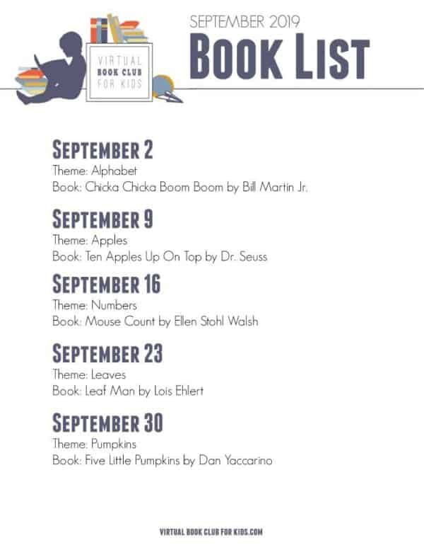 Book list and themes for September from the Virtual Book Club for Kids