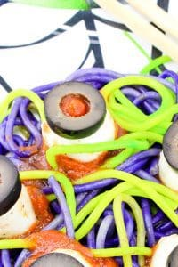 Spaghetti and Eyeballs a spooky meal idea for kids this Halloween