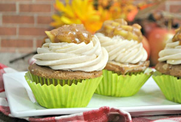 Delicious Apple Pie Cupcakes with Cinnamon Buttercream Frosting made from scratch - no box mix