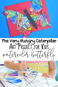 watercolor art project for kids inspired by the very hungry caterpillar to create a stained glass effect beautiful butterfly
