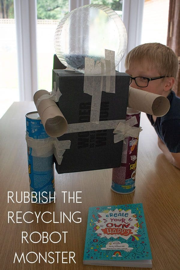 Rubbish the Recycling Robot Monster one of the Activities for Kids in the Create Your Own Happy Book.