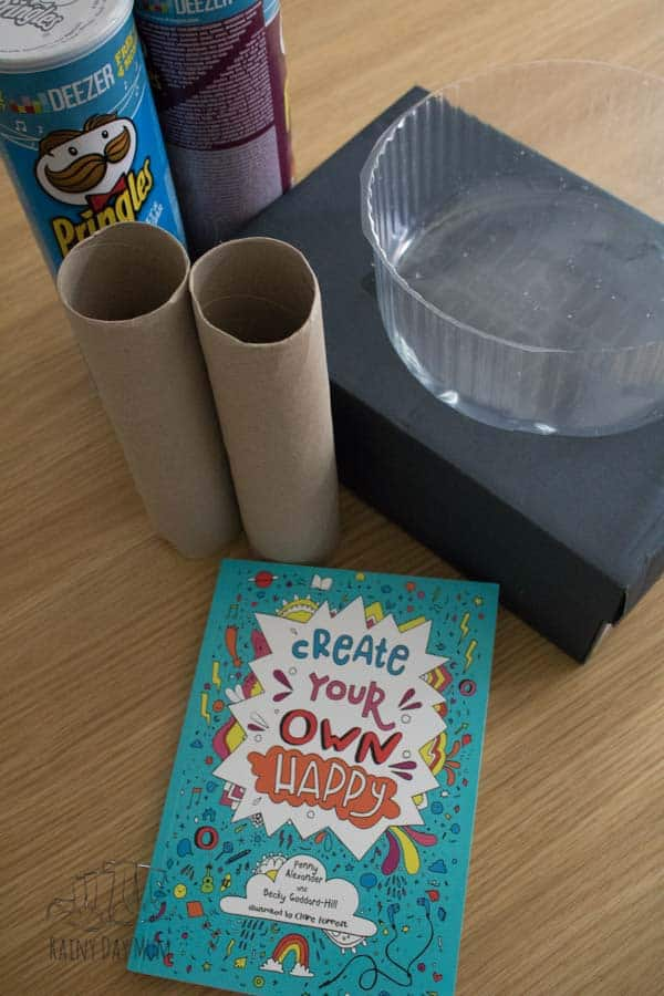 Materials needed for the Recycling Monster activity in the book Create your own happy for kids by Penny Alexander and Becky Goddard-Hill