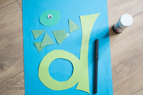 making d is for dinosaur craft for toddlers and preschoolers working on letters and alphabets