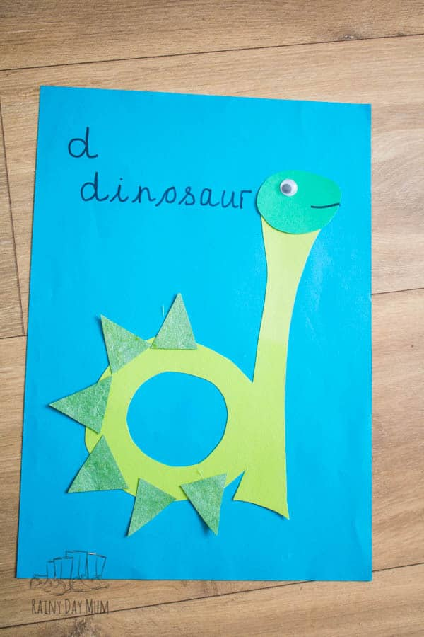 D is for Dinosaur lower case letter of the week craft for toddlers and preschoolers