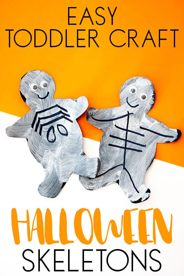 Easy Halloween Craft to do with your Toddlers to make Halloween Skeletons