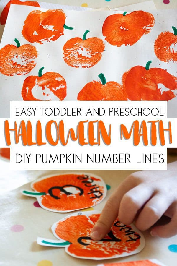 Easy Halloween Math for toddlers and preschoolers. DIY pumpkin number lines